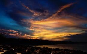 Картинка небо, закат, камни, Облака