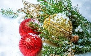 Обои шарики, Новый Год, ветка, ель, красные, игрушки, елочные, New Year, Christmas, золотые, новогодние, шары, Рождество, ...