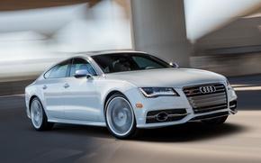 Картинка Audi, Дорога, Ауди, Белый, Машина, Движение, Машины, Car, Автомобиль, Cars, White, Автомобили, Road, Sportback, US-spec