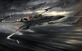 Картинка Wars, Star, fighters, attack, X Wing, The Rebellion