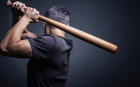 Картинка man, pose, shirt, baseball bat