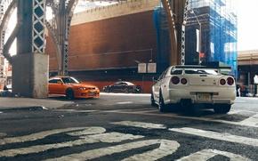Обои V-Spec, Car, Skyline, Black, Скайлайн, Orange, White, R33, Ниссан, Nissan, R34, GT-R