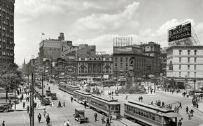 Картинка улица, америка, трамваи