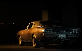 Картинка black, dodge, night, charger, 1968, 70's, 60's, 2gen