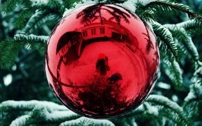 Картинка снег, игрушка, елка, новый год, new year, tree