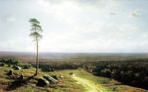 """Картинка дорога, пейзаж, камни, дерево, лошадь, жара, картина, повозка, Клодт, """"лесная даль в полдень"""", 1878"""