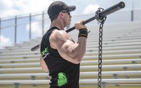 Картинка man, muscles, workout, chains, bodybuilder, weight bar