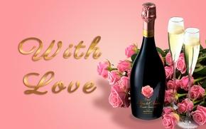 Обои розы, бокалы, glass, шампанское, flowers, romantic, Valentine's Day, roses, champagne