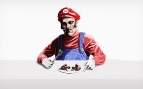 Картинка red, nintendo, game, super, mario, mushroom, fork, eating