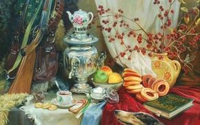 Обои чай, яблоки, собака, картина, арт, книга, бублики, ружье, натюрморт, живопись, самовар, бутерброд, столе, русская, снаряжение, ...