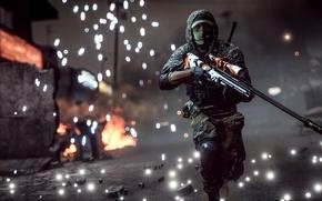 Обои оружие, Battlefield 4, солдат, фон, снайпер