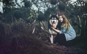 Обои шары, девушка, собака