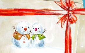 Картинка подарок, новый год, снеговики