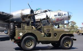 """Картинка внедорожник, автомобиль, армейский, B-17G, 1955, Jeep, бомбордировщик, повышенной, проходимости, """"Виллис М38A1"""", Willys M38A1"""