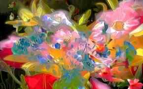 Обои цветы, лепестки, природа, рендеринг