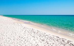 Обои море, небо, песок, пляж, бирюза, прибой