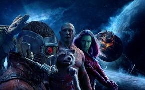 Картинка космос, фантастика, планеты, постер, Зои Салдана, Rocket, Zoe Saldana, Peter Quill, Gamora, Groot, Крис Прэтт, …
