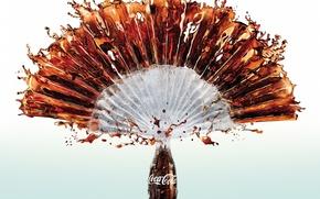 Картинка брызги, бутылка, напиток, coca-cola, кока-кола, бренд
