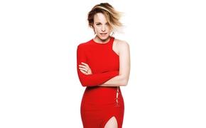 Картинка взгляд, поза, макияж, фигура, платье, актриса, прическа, белый фон, красотка, стоит, журнал, в красном, Rachel …