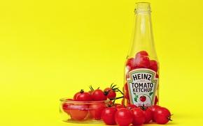 Обои чаша, бутылки, помидоры, кетчуп, Heinz