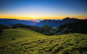 Обои горы, Taiwan, Тайвань, восход, рассвет, Zhongyang Range, Центральный горный хребет, Central Mountain Range
