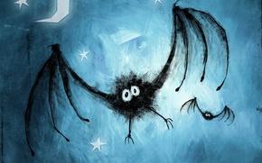 Обои рисунок, синий, Летучая мышь