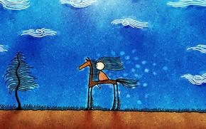 Картинка облака, рисунок, Лошадь, человечек