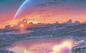 Картинка небо, облака, озеро, сияние, катастрофа, кратер, городок, метеорит, Kimi no Na wa, Твое имя, by …