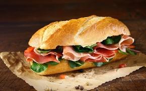 Обои хлеб, перец, бутерброд, сэндвич, балык, ветчина, батон