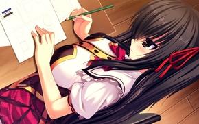 Картинка грудь, девушка, карандаш, школьница, парта, листки, art, namaiki delation, shinkai nagisa