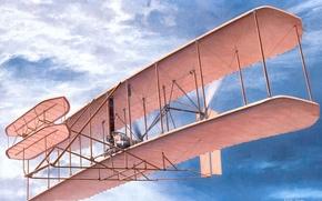 Картинка небо, самолет, рисунок, США, декабрь, первый, мире, 1903 г, «Флайер-1»