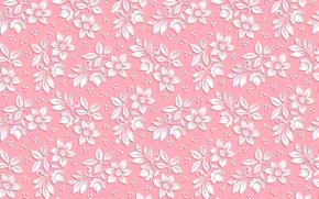 Картинка цветы, узор, объем, фон, розовый