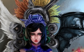 Обои арт, rikamello, девушка, крылья, ангел