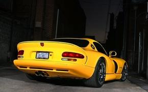 Обои Dodge, Viper GTS, ночь, желтый