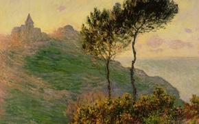 Картинка пейзаж, картина, Клод Моне, Церковь в Варанжвиле на Закате