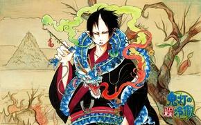 Картинка пламя, дракон, рисунок, демон, иероглифы, рога, гримаса, злобный взгляд, hoozuki, hoozuki no reitetsu, by natsumi …