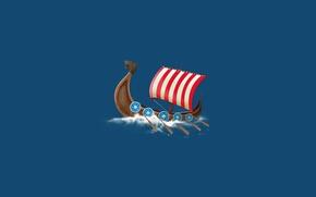 Картинка вода, лодка, корабль, парусник, минимализм, ship, викинги, весла, vikings