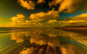 Картинка море, небо, облака, отражение, побережье, горизонт