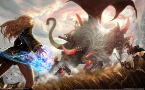 Картинка девушки, магия, крылья, монстр, лук, лучница, битва, raiderz