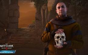 Обои Каменные Сердца, дополнение, Стеклянный человек, Гюнтер о'Дим, DLC, Господин Зеркало, Ведьмак 3: Дикая Охота, череп, ...