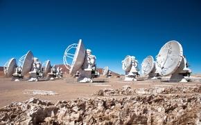 Картинка антенны, обсерватория, радиотелескопы, Chilean Andes, antennas, Chajnantor Plateau, Giant Radio Telescope ALMA in Chile