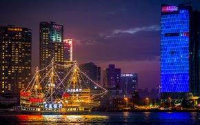 Картинка ночь, отражение, здания, лодки, зеркало, Китай, Шанхай, реки Хуанпу, освещенный