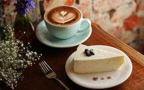Картинка кофе, чашка, десерт, творожный