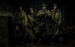 Картинка оружие, мужики, сталкеры