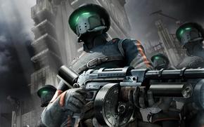 Обои оружие, маска, damnation, солдат