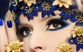 Картинка девушка, ресницы, стиль, фон, карие глаза, макияж. цветочки