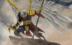 Картинка свобода, скала, орел, крылья, меч, воин, знамя