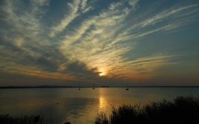 Картинка закат, Германия, Germany, sunset, Штайнхудер Мер, озеро в Ганновере, Steinhuder Meer
