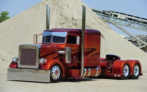 Картинка Orange, Truck, Peterbilt, Brown, Silver, Customize