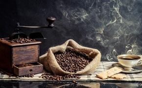 Картинка кофе, чашка, кофейные зёрна, кофемолка